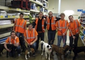 From left, Tannon Mossor, Jeshua Irazabel, Bryan Gasaway, Evan Newman, Kyle Cook, Kyle Lutz and Jeffrey Tice help out atthe Hancock County Animal Shelter.