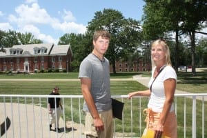 Incoming biology major Connor Clark, Parsippany, N.J., discusses campus life with his mother Kristen.