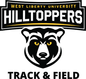 Bear mascot with yellow eyes with the word Hilltoppers overhead and track and field undert